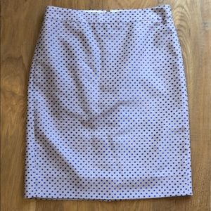 J crew pencil skirt pink with blue dots 0 xs